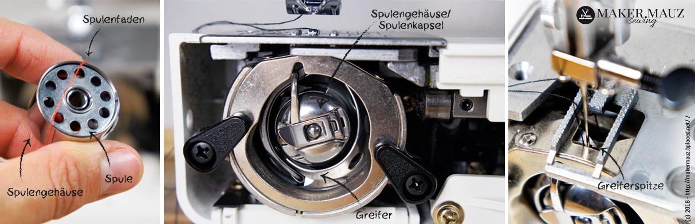 Teile der Nähmaschine - Greifer und Spule