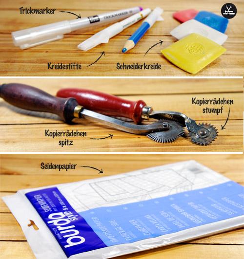 Seidenpapier, Kopierrädchen, Schneiderkreide, Kreidestifte, Trickmarker