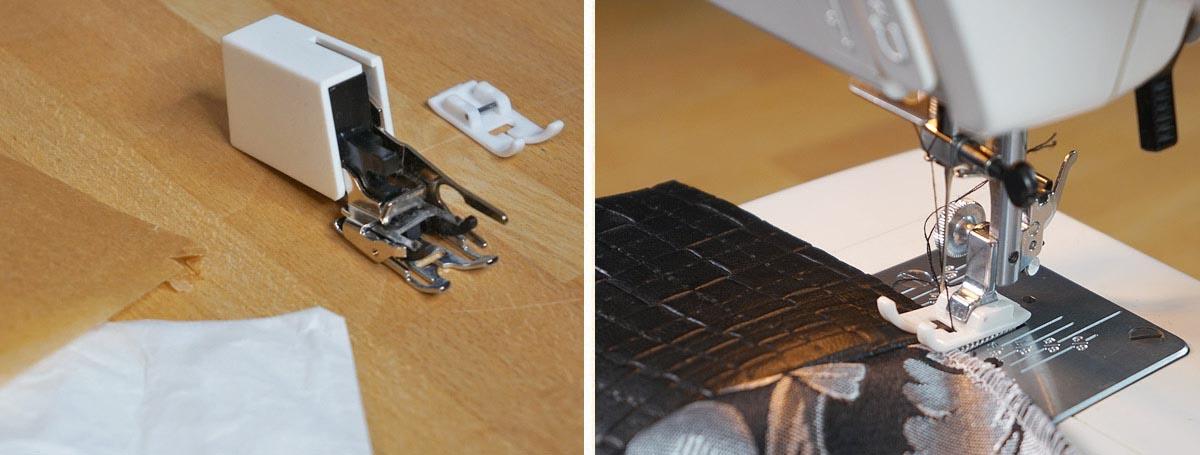 Nähfüße und Alternativen beim Nähen von Kunstleder, beschichteten Stoffen und Wachstuch