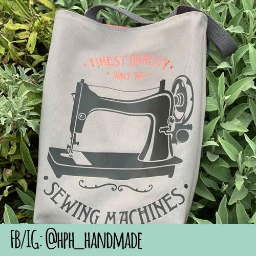 Tasche mit geplotteter Nähmaschine