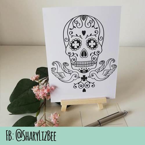 Postkartendesign aus Plotterdatei Rockabilly Skull