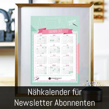 Näh-Kalender 2021 gratis für Newsletter Abonnenten