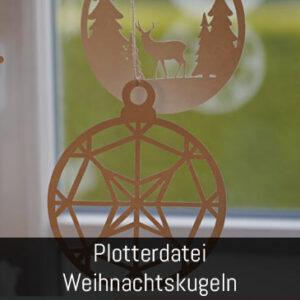 Plotterdatei Fensterbild Weihnachtskugel Stern Hirsch Tannenbaum