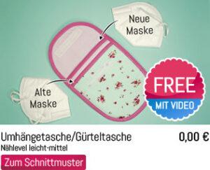 Umhängetasche Gürtel FFP2 Masken Tasche Tutorial Anleitung Schnittmuster Freebie